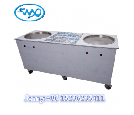 China Double Flat Round Ice Pan Fried Ice Cream Rolls Machine factory