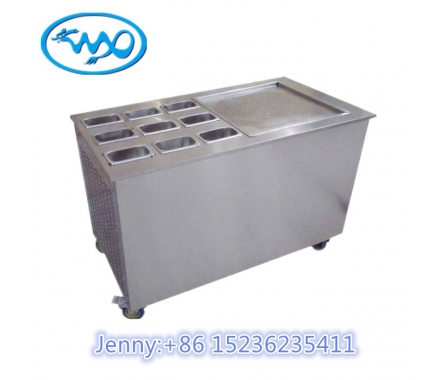China Single Pan Fried Ice Cream Roll Machine with 9 pcs Topping Container factory