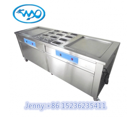 China WXIC500D machine double pan fried ice cream roll factory
